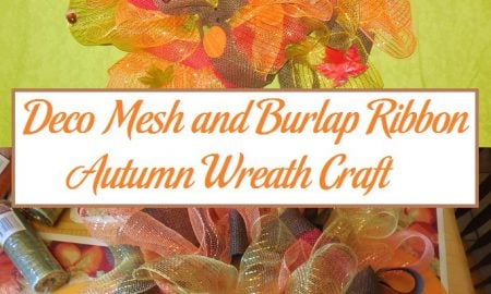 Deco Mesh and Burlap Ribbon Autumn Wreath Craft
