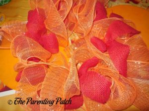 Orange and Red on Deco Mesh and Burlap Ribbon Autumn Wreath Craft