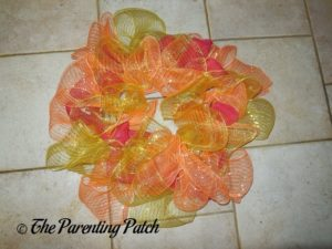 Orange, Red, and Yellow on Deco Mesh and Burlap Ribbon Autumn Wreath Craft