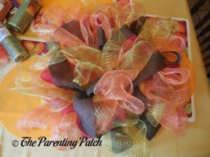 Orange, Red, Yellow, and Brown on Deco Mesh and Burlap Ribbon Autumn Wreath Craft