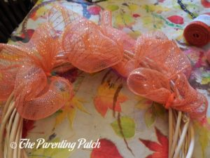More Deco Mesh Loops of Deco Mesh and Burlap Ribbon Indian Corn Autumn Wreath Craft