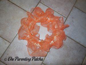 Orange Deco Mesh of Deco Mesh and Burlap Ribbon Indian Corn Autumn Wreath Craft