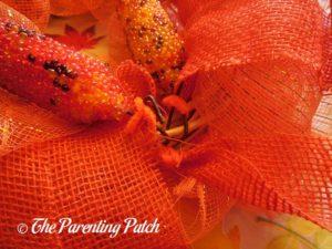 Securing Indian Corn to Deco Mesh and Burlap Ribbon Indian Corn Autumn Wreath Craft