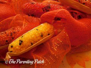 Indian Corn on Deco Mesh and Burlap Ribbon Indian Corn Autumn Wreath Craft