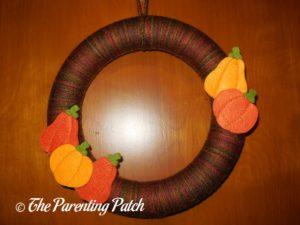 Finished Autumn Pumpkin Yarn Wreath Craft