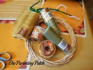 Materials for Deco Mesh and Ribbon Autumn Wreath Craft