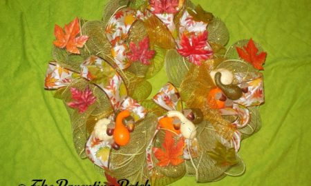 Finished Deco Mesh and Ribbon Autumn Wreath Craft