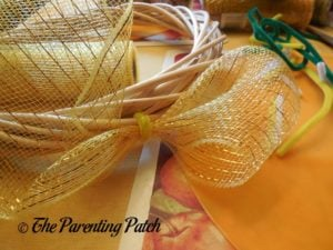 First Deco Mesh Loop of Deco Mesh and Ribbon Autumn Wreath Craft
