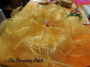 Yellow Deco Mesh of Deco Mesh and Ribbon Autumn Wreath Craft