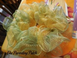 Yellow and Green Deco Mesh of Deco Mesh and Ribbon Autumn Wreath Craft