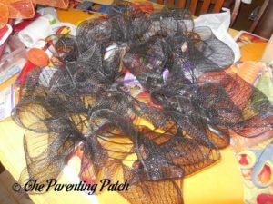 Black Deco Mesh Loops of Deco Mesh Halloween Wreath Craft