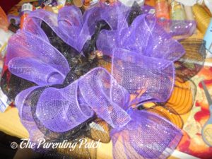 Black and Purple on Deco Mesh Halloween Wreath Craft