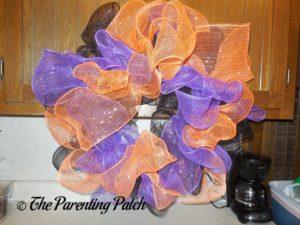 Black, Purple, and Orange on Deco Mesh Halloween Wreath Craft