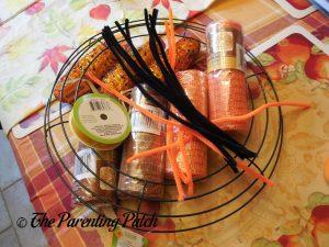 Materials for Deco Mesh Indian Corn Autumn Wreath Craft