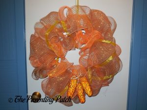 Finished Deco Mesh Indian Corn Autumn Wreath Craft