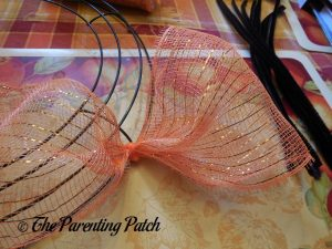 First Deco Mesh Loop of Deco Mesh Indian Corn Autumn Wreath Craft