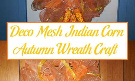 Deco Mesh Indian Corn Autumn Wreath Craft