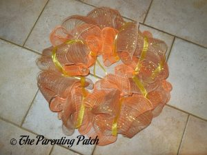 Orange, Brown, and Yellow on Deco Mesh Indian Corn Autumn Wreath Craft