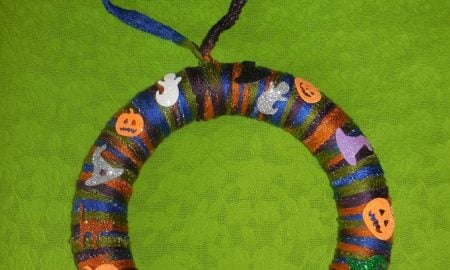 Halloween Yarn Wreath Craft