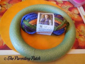 Materials for Halloween Ribbon and Yarn Wreath Craft