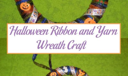 Halloween Ribbon and Yarn Wreath Craft