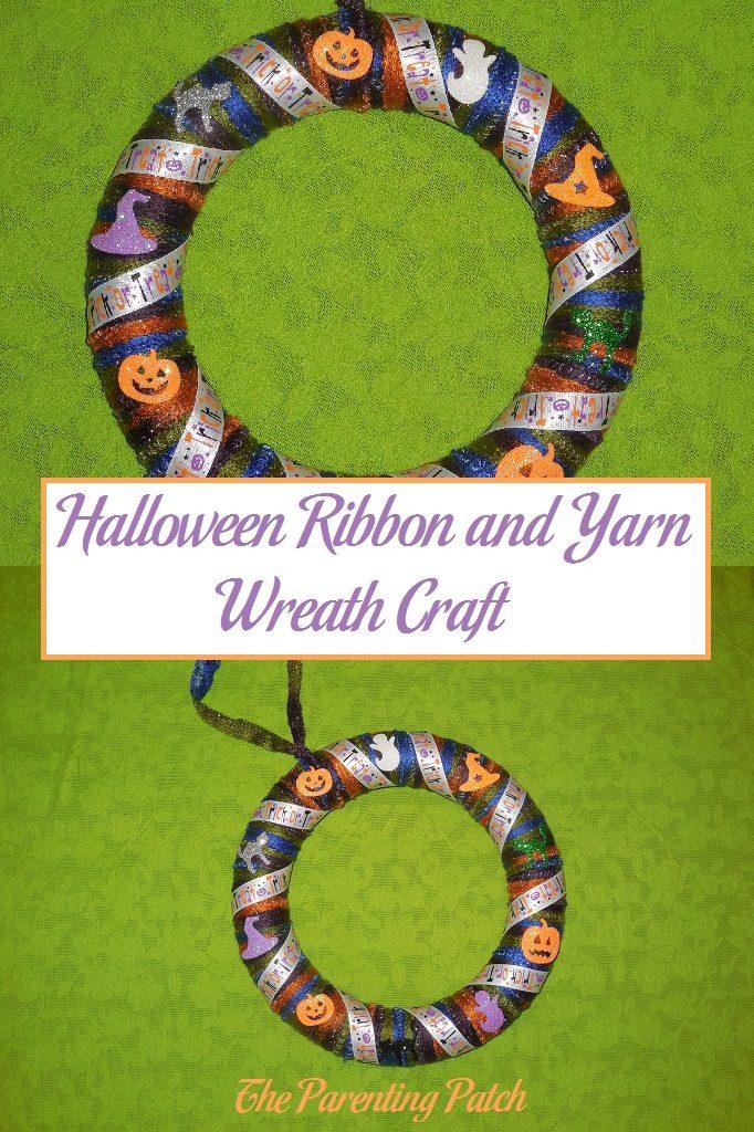 Halloween Ribbon and Yarn Wreath Craft