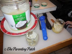 Measuring Coconut Oil for Easy DIY Body Butter and Lip Balm