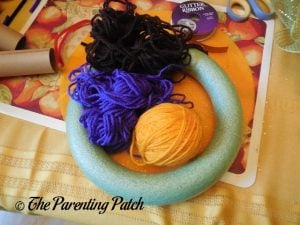 Materials for Halloween Yarn Block-Color Wreath Craft