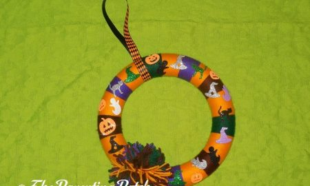 Finished Halloween Yarn Block-Color Wreath Craft