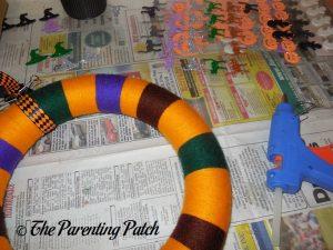 Hot Glue for Halloween Yarn Block-Color Wreath Craft