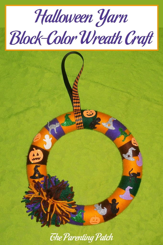 Halloween Yarn Block Color Wreath Craft Parenting Patch