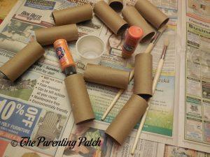 Materials for Toilet Paper Tube Pumpkin Jack o' Lantern Craft