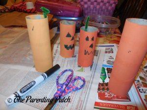 Finishing the Toilet Paper Tube Pumpkin Jack o' Lantern Craft