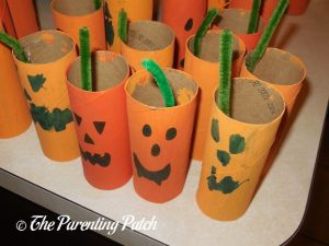 Patch of Toilet Paper Tube Pumpkin Jack o' Lantern Crafts