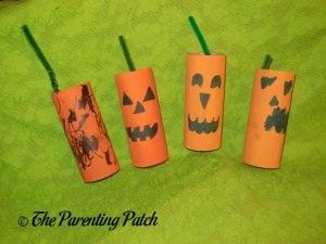 Finished Toilet Paper Tube Pumpkin Jack o' Lantern Craft