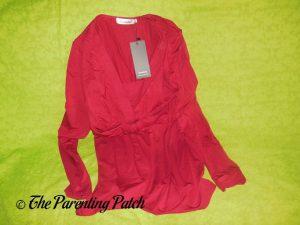 V-Neck Ruffled Long-Sleeve Draped-Shoulder Blouse Tunic Top