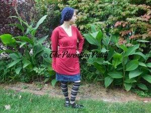 Heather Wearing V-Neck Ruffled Long-Sleeve Draped-Shoulder Blouse Tunic Top 1