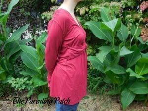 Side of V-Neck Ruffled Long-Sleeve Draped-Shoulder Blouse Tunic Top