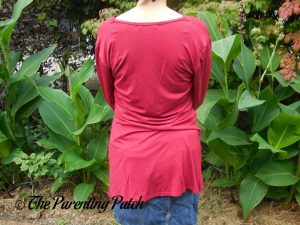 Back of V-Neck Ruffled Long-Sleeve Draped-Shoulder Blouse Tunic Top