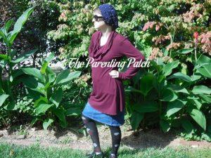 Heather Wearing Long-Sleeve Cowl-Neck Tunic Blouse 2