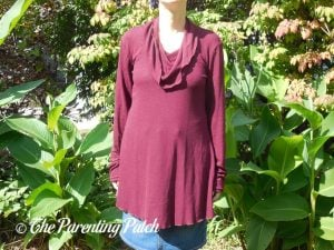 Front of Long-Sleeve Cowl-Neck Tunic Blouse