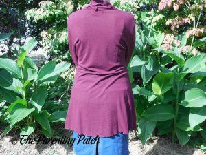 Back of Long-Sleeve Cowl-Neck Tunic Blouse