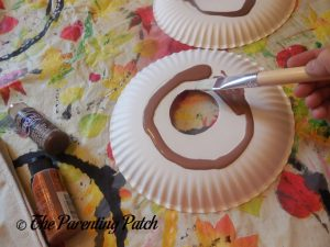 Painting the D Is for Donut Paper Plate Craft Brown 2