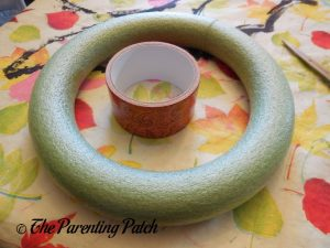 Materials for Duct Tape and Ribbon Autumn Wreath Craft