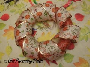 Ribbon Wrapped Around the Duct Tape and Ribbon Autumn Wreath Craft