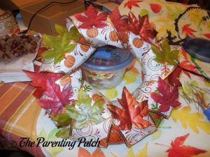 Decorating the Duct Tape and Ribbon Autumn Wreath Craft