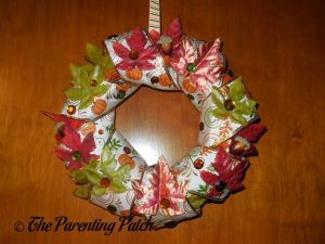 Finished Duct Tape and Ribbon Autumn Wreath Craft