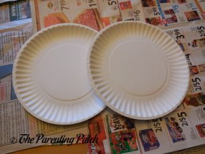 Materials for G Is for Ghost Halloween Paper Plate Craft