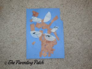 Finished Torn Paper and Cupcake Liner Halloween Ghost Tree by Toddler