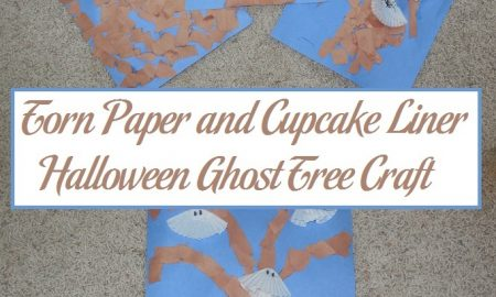 Torn Paper and Cupcake Liner Halloween Ghost Tree Craft